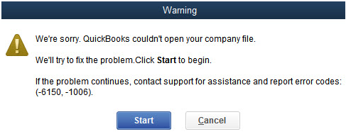Information QuickBooks Error -6150,-1006