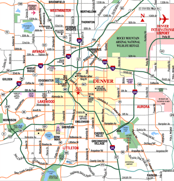 Map of Denver,
