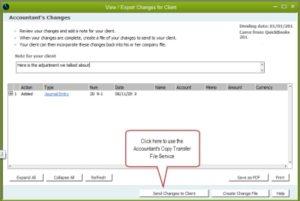 Send Back QB Create  Accountant's Copy Client