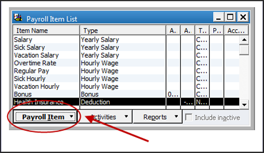 Browse All Payroll Item