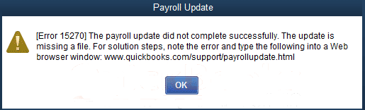 QuickBooks Update Error 15270