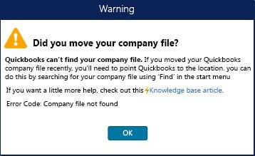 QuickBooks Missing Company File