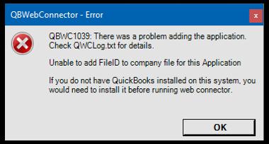 QBWC1039 Error
